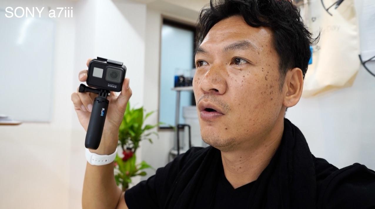 Gopro7に装着したショーティーの紹介と、自撮り方法の雑談